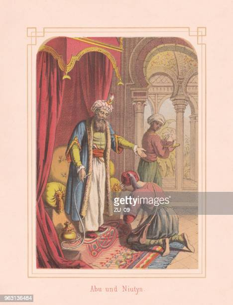 abu and niutyn, fairy tale from arabian nights, lithograph, 1867 - hookah stock illustrations, clip art, cartoons, & icons