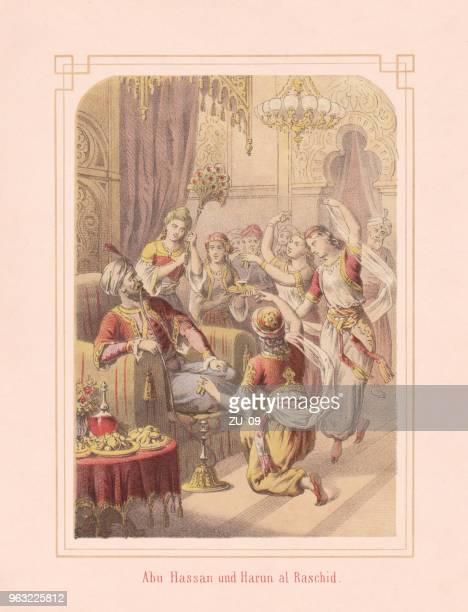 abu hassan and harun al-raschid, from arabian nights, lithograph, 1867 - hookah stock illustrations, clip art, cartoons, & icons