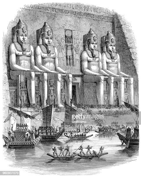 Abu Simbel temple with egyptian religious ceremony illustration 1880