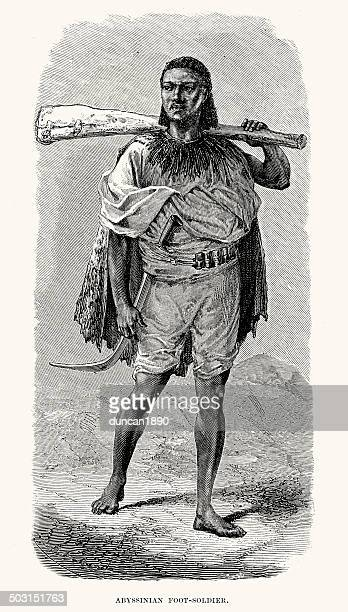 abyssinian foot soldier - ethiopia stock illustrations, clip art, cartoons, & icons