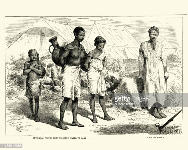 abyssinian water-girls bringing water, 19th century - ethiopia stock illustrations, clip art, cartoons, & icons
