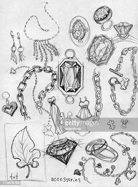 accessory. diamond doodles - necklace stock illustrations, clip art, cartoons, & icons