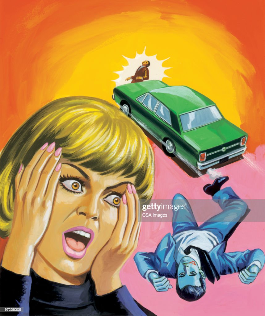 Accident and Woman Screaming : stock illustration