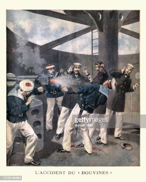 accident on french warship, bouvines, firearm malfunction, cannon backfire - bang boat stock illustrations