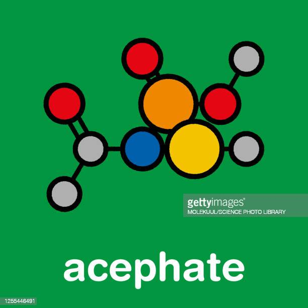 acephate insecticide molecule, illustration - atom stock illustrations