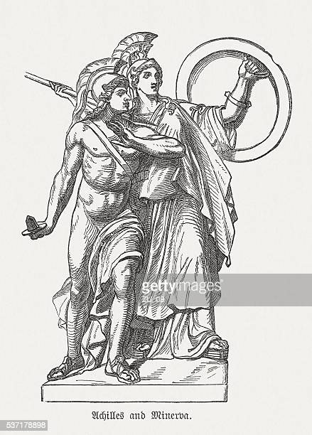 achilles and minerva, greek mythology, wood engraving, published in 1880 - roman goddess stock illustrations, clip art, cartoons, & icons