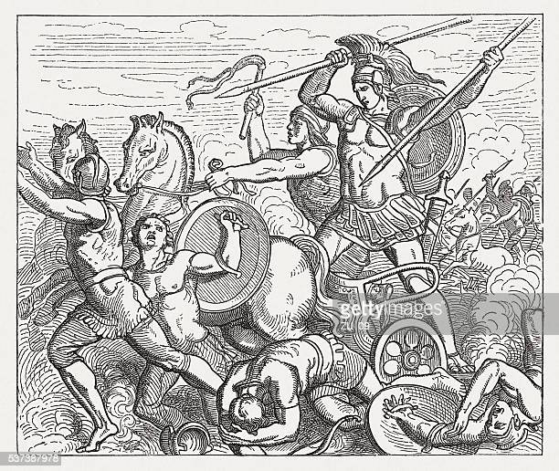 achilles assailed hector, greek mythology, wood engraving, published in 1880 - trojan war stock illustrations, clip art, cartoons, & icons