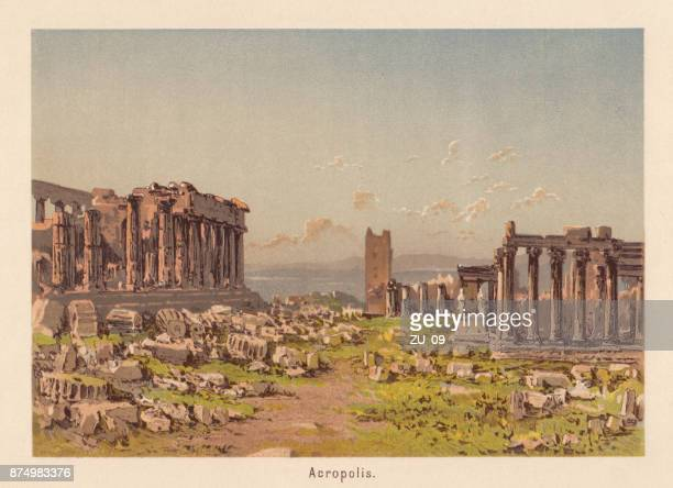 acropolis, athens, greece, lithograph, published in 1885 - ancient greece stock illustrations, clip art, cartoons, & icons