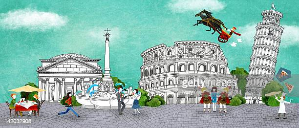 acropolis, pisa and colosseum - pisa stock illustrations, clip art, cartoons, & icons
