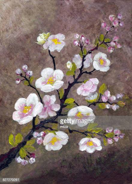 Acrylic painted apple tree blossom