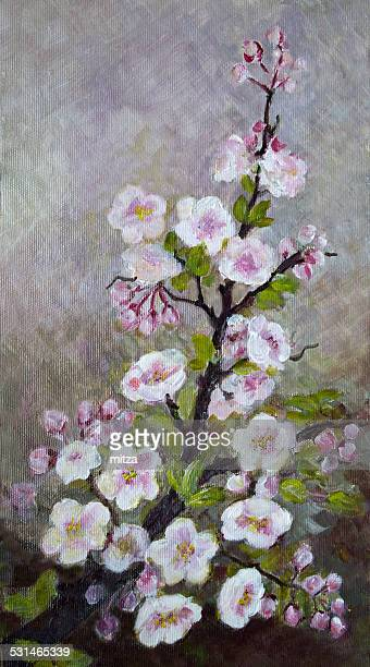 Acrylic painted apple tree blossom on textured background