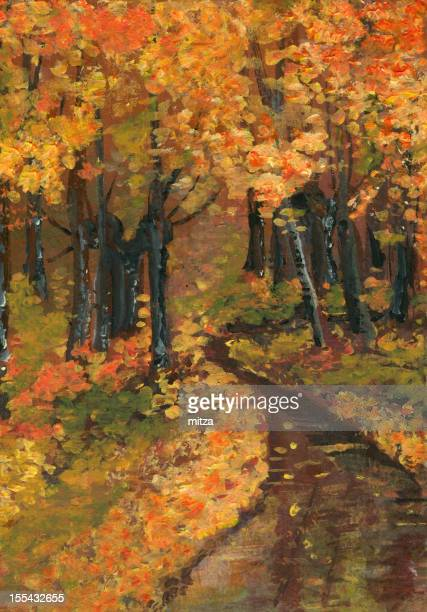Acrylic painted forest in fall season.