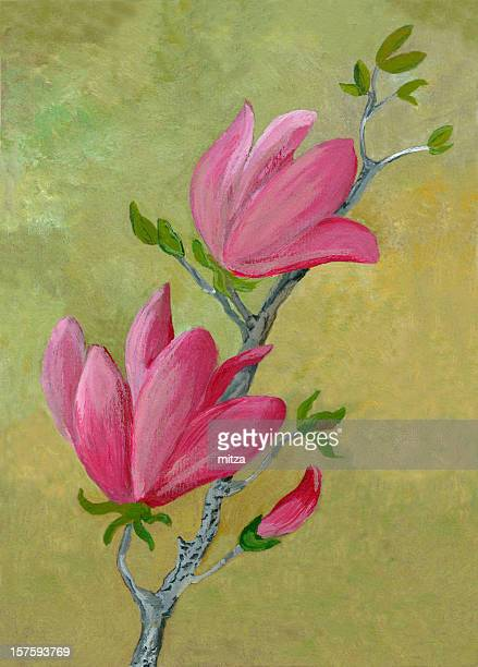 Acrylic painted magnolia on green background