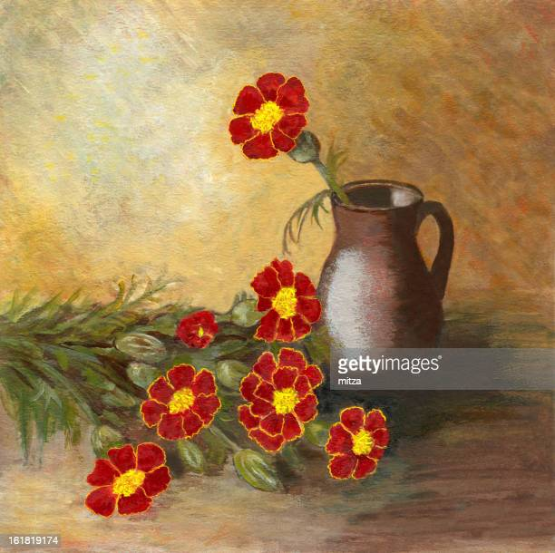 Acrylic painted marigold flowers arrangement with ceramic vase