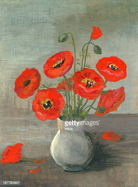 Acrylic painted poppy flowers arrangement