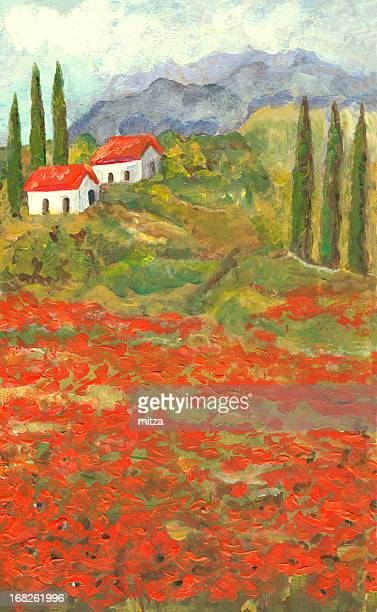 acrylic painted poppy flowers landscape in tuscany, italy - tuscany stock illustrations, clip art, cartoons, & icons