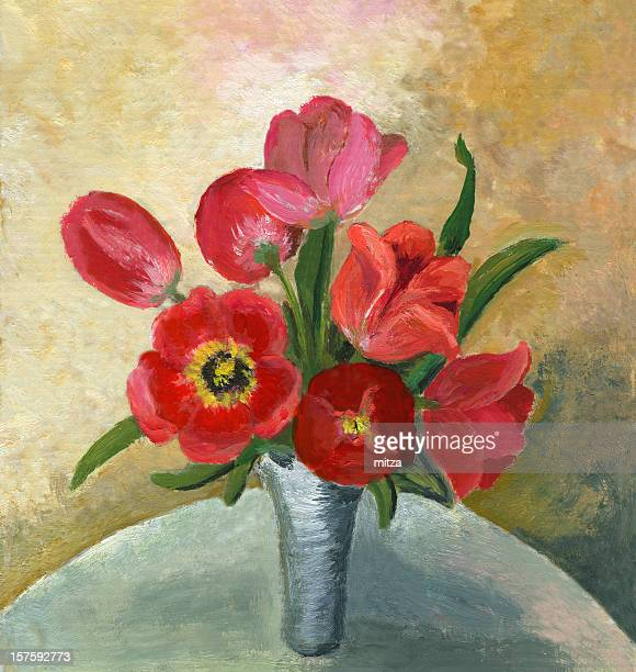 Acrylic Painted Red Tulips in White Vase