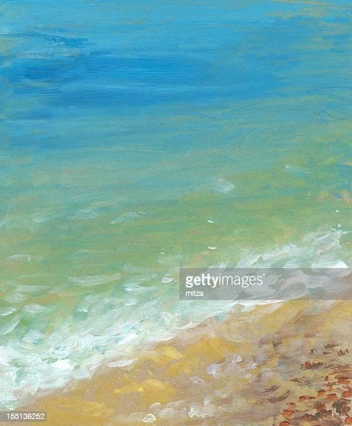 Acrylic painted seashore background