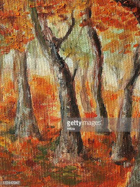 Acrylic painted trees in Autumn