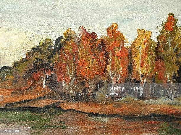 Acrylic painted trees in fall colors