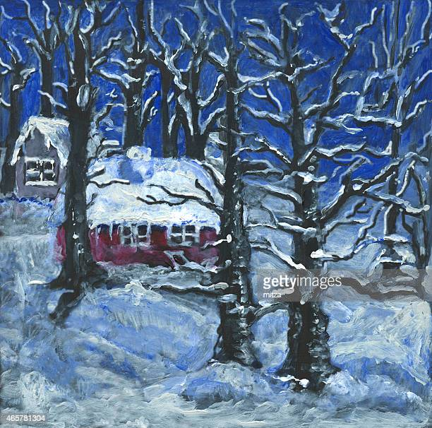 Acrylic painted winter scene in the forest with woodman's cottage
