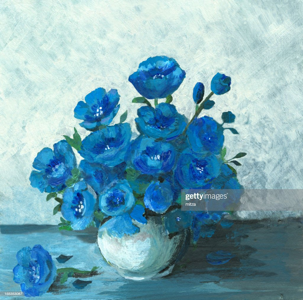 Acrylic Painting Of A Still Life In Blue Stock Illustration Getty