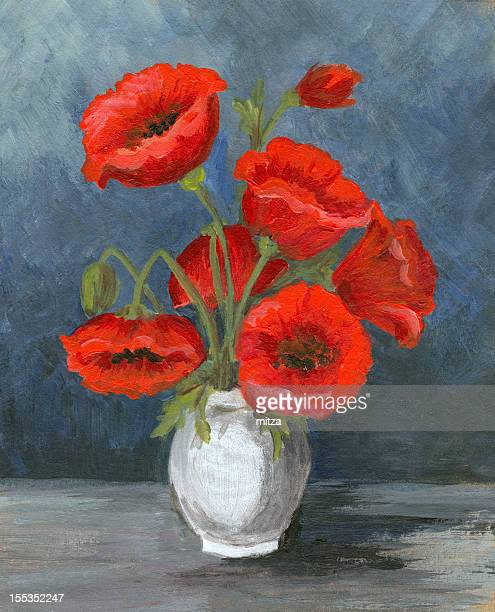 Acrylic painting of poppy flower arrangement
