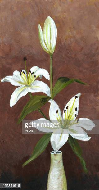 Acrylic painting of  white lily flower on dark brown background