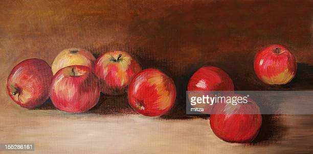 Acrylic painting with eight red apples