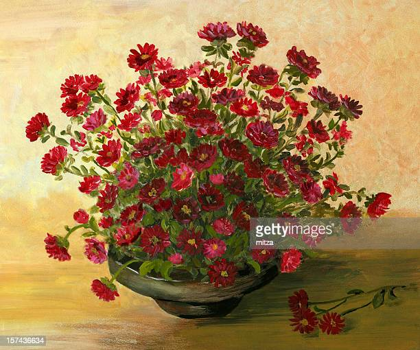 acrylic painting  with red  little  flowers arrangement - craft product stock illustrations