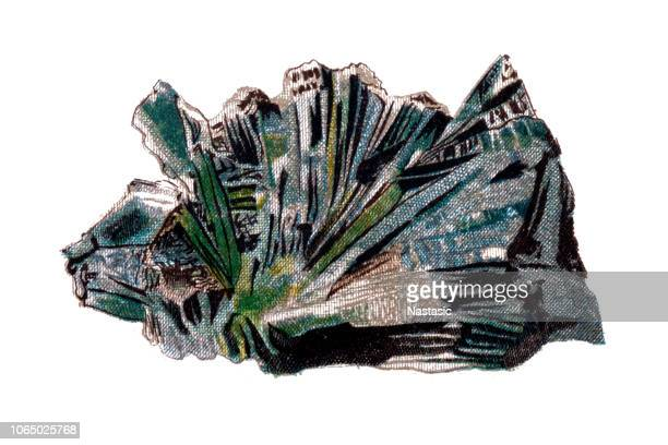 actinolite is an amphibole silicate mineral - asbestos stock illustrations, clip art, cartoons, & icons