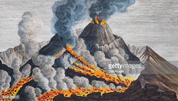 active volcano vesuvius, hand-coloured copperplate engraving from friedrich justin bertuch picture book for children, weimar, 1798 - mt vesuvius stock illustrations, clip art, cartoons, & icons