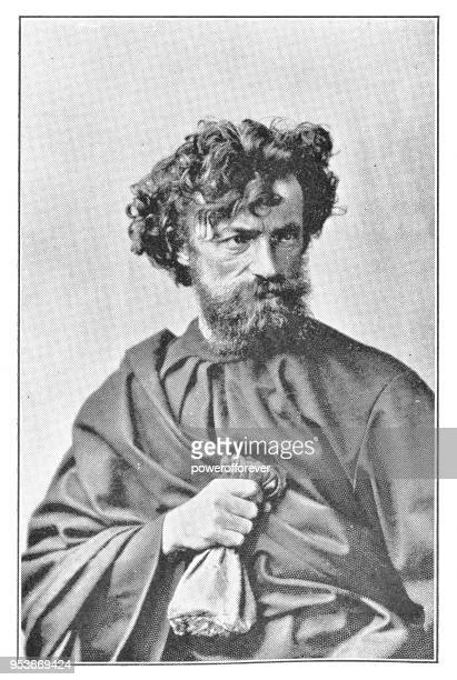 actor portraying judas at passion play in oberammergau, germany - 19th century - judas iscariot stock illustrations