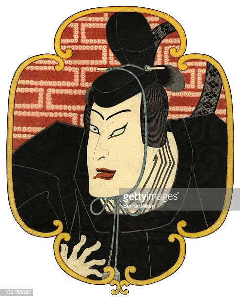 actors face traditional japanese woodblock - only japanese stock illustrations, clip art, cartoons, & icons
