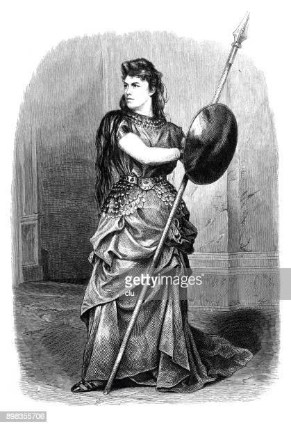 Actriz como Brunilda de los Nibelungos