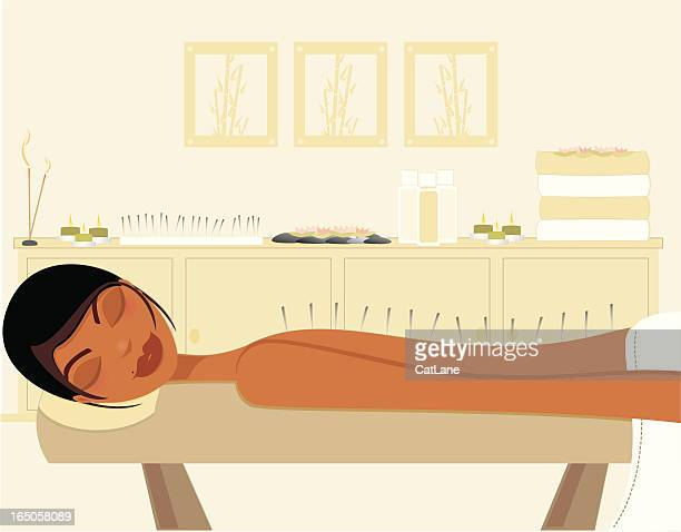 acupuncture - acupuncture stock illustrations, clip art, cartoons, & icons