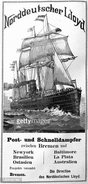 ad for norddeutscher lloyd cruises - german culture stock illustrations