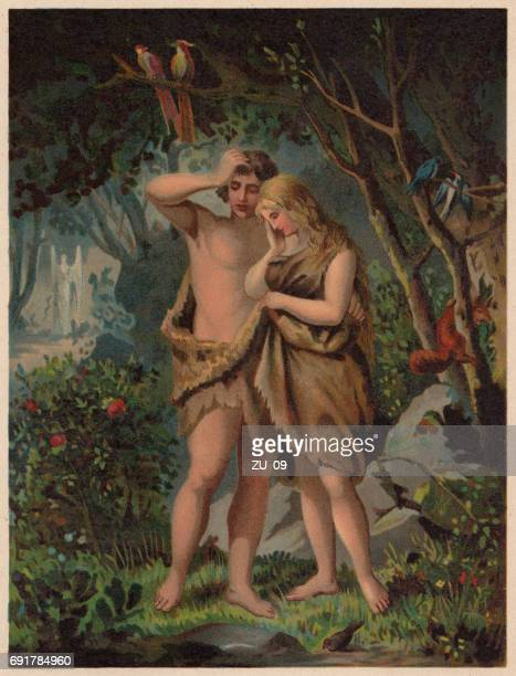 adam and eve are driven out of paradise, published 1886 - heaven stock illustrations