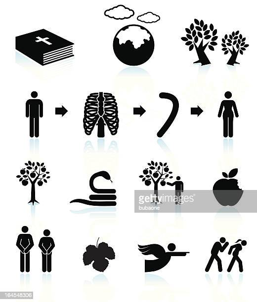 Adam and Eve Book black & white vector icon set