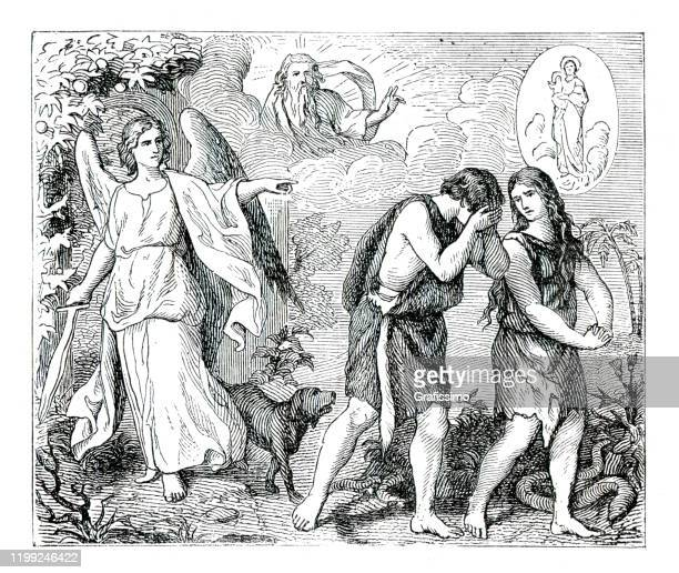adam and eve expulsed from eden by cherubim angel illustration 1882 - biblical event stock illustrations
