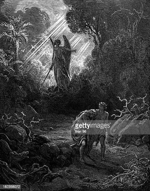 adam and eve - gustave dore stock illustrations, clip art, cartoons, & icons