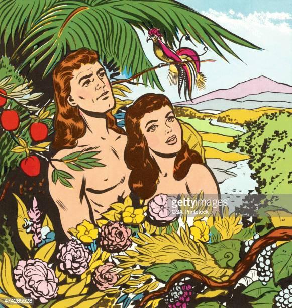 illustrazioni stock, clip art, cartoni animati e icone di tendenza di adamo ed eva in giardino - adamo e eva