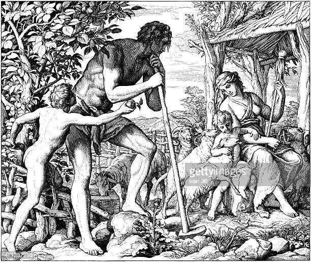 adam and eve with cain & abel - adam biblical figure stock illustrations, clip art, cartoons, & icons