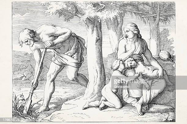 adam working eve with her children cain and abel - adam biblical figure stock illustrations, clip art, cartoons, & icons