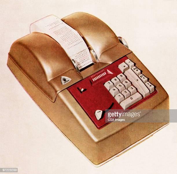 stockillustraties, clipart, cartoons en iconen met adding machine - rekenmachine