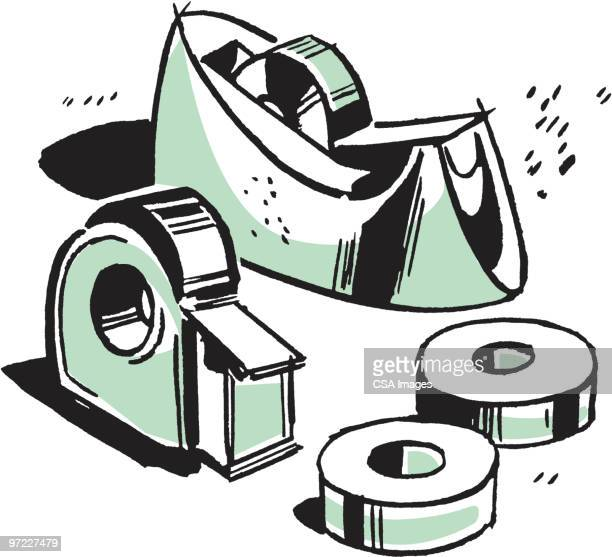 adhesive tape - four objects stock illustrations