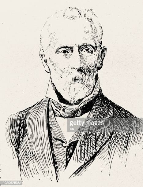 adolf bastian, german philosopher and physician, 1826-1905, founding director of the museum for ethnology in berlin - 1905 stock illustrations, clip art, cartoons, & icons