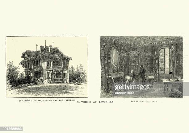 adolphe thiers president of france at trouville, 1872 - trouville sur mer stock illustrations