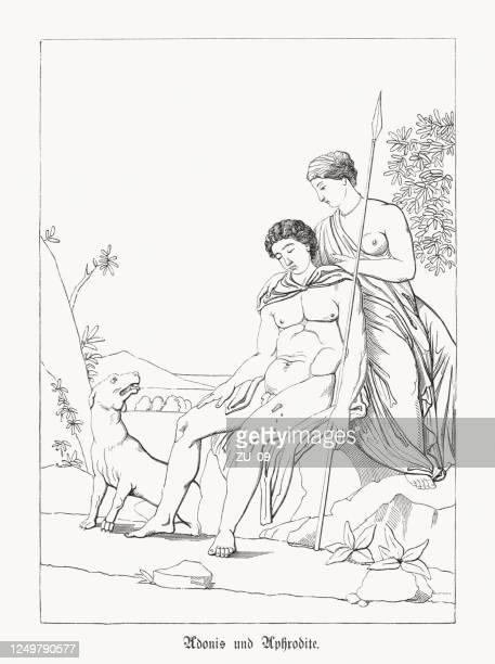 アドニスとヴィーナス(アフロディーテ)、ギリシャ神話、木彫、1868年出版 - 女神アフロディーテ点のイラスト素材/クリップアート素材/マンガ素材/アイコン素材