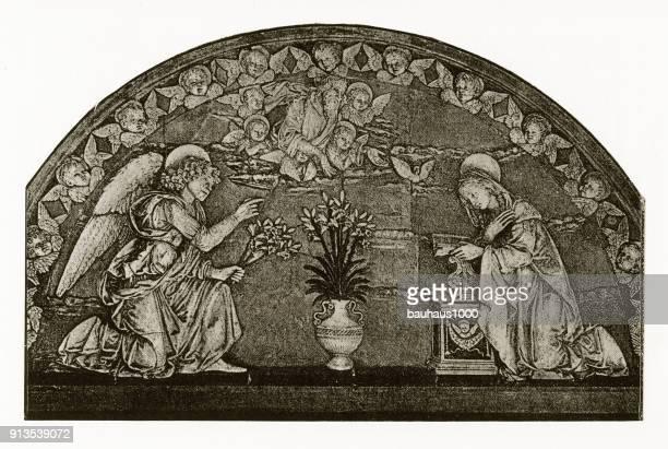 Aanbidding van de Heilige Maagd Maria christelijke symboliek gravure